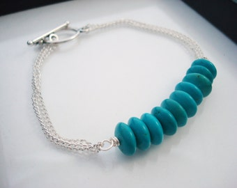 Turquoise Bracelet, Teal and Silver Jewelry, Silver Chain Bracelet, Bar Bracelet, Teal Bracelet, Beaded Bracelet, Stacking Bracelet