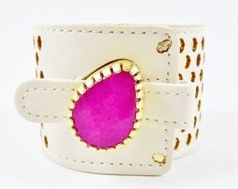 Chunky Fuschia Pink Jade Gemstone Statement Cuff - Soft Laser Cut Hamsa Hand Faux Leather