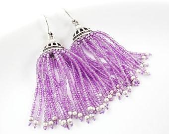 Lavender Purple Beaded Tassel Dangly Statement Earrings - Sterling Silver Earwire