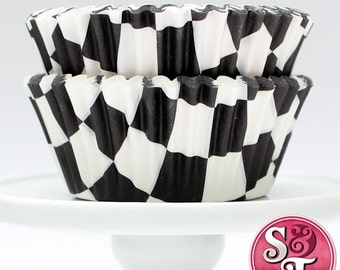 Black GREASEPROOF Checkered Baking Cups Cupcake Liners - Quantity 50