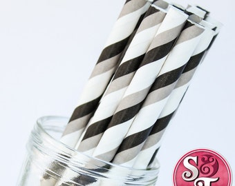 Stripe Black/Gray Party Paper Straws - Cake Pop Sticks - Pixie Sticks - Qty 25