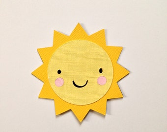 Smiley die cut sun - at 2.5 inches and up - perfect for scrapbook layouts - nursery wall frames - crib mobile - farm theme party - birthdays