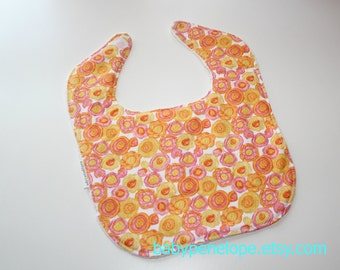 Clearance*** Boutique Style Baby Bib -  Yellow, Orange and Pink Flowers