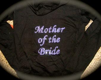 Mother of the Bride Zip Up Hoodie . Bride's Mom rhinestone hoodie - Mother of the Groom, Bridesmaid, maid of honor, matron of honor, bride