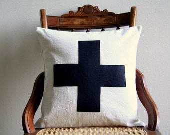 "black swiss cross throw pillow cover, 16"" x 16"", natural farmhouse, accent pillow, rustic, dorm decor, fall home decor, halloween"