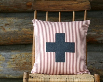 """red and cream swiss cross pillow cover, charcoal, throw pillow, 16"""" x 16"""", farmhouse, cabin style, rustic, fall decor"""