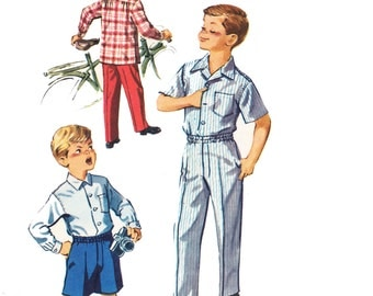 1950s Boy's Shirt and Shorts Sewing Pattern /  Vintage McCall's 50s Boy's Long Pants, Shirt and Shorts Shirt Sewing Pattern 4138