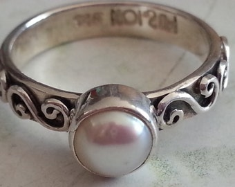 Vintage Sterling Silver and Pearl Ring Size 6 Alternative Engagement Ring
