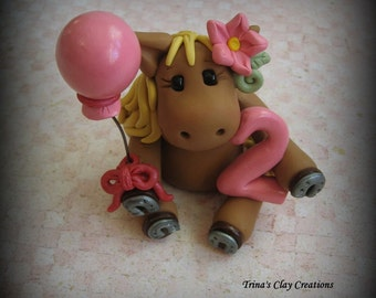 Horse Cake Topper, Horse, Polymer Clay Keepsake, Birthday, Cake Topper, Birthday Cake Topper