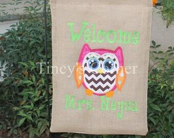 Welcome Burlap Owl Appliqued Garden Flag
