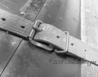Macro Photography Old Storage Trunk Belt Black White Photo Wall Art Home Decor Digital Download Fine Art Photography