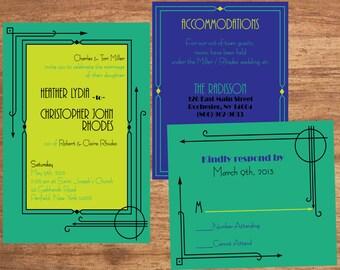 Wedding Invitation Set Digital Files Art Deco 20s Gatsby