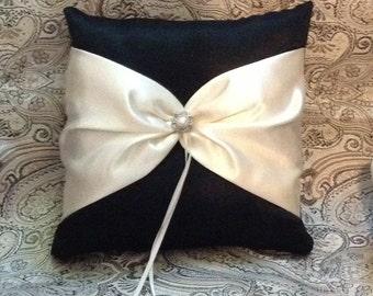 ring bearer pillow custom made satin pillow white or ivory  on black pillow