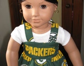Green Bay Packers Sundress ,T-shirt and matching hair ribbon for  american girl or any 18 inch doll