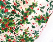 Vintage Leacock Oval Christmas Tablecloth