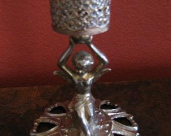 Vintage 1960's Boho Cupid Filigre Candleholder