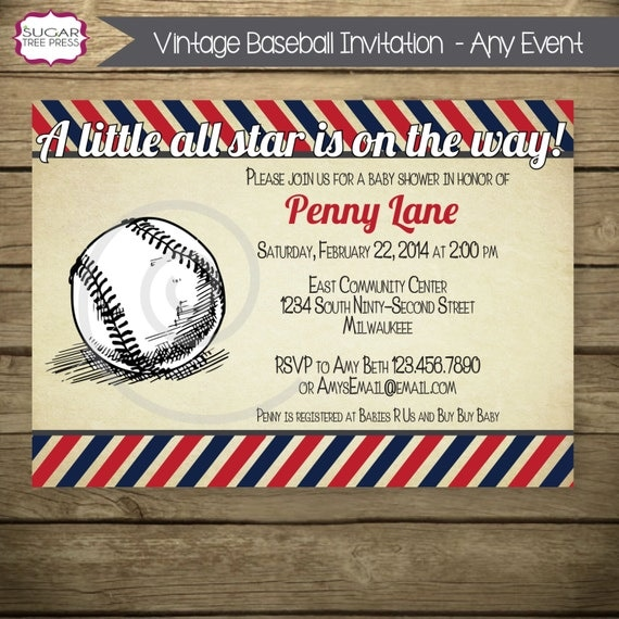 Vintage Baseball Baby Shower Invitations