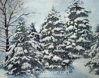 SNOWY PINES -Giclee  Print of Original Watercolor Painting