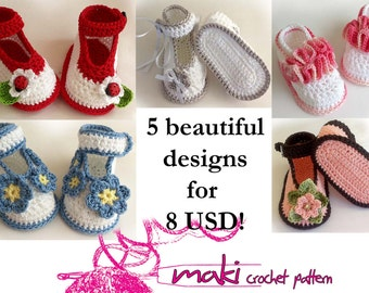 Crochet patterns baby booties - e-Book - Permission to sell finished items. Full of large pictures!