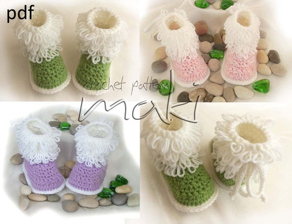Crochet Patterns Loop Stitch : Baby boots crochet pattern - Loop stitch - Step-by-step pattern - No ...