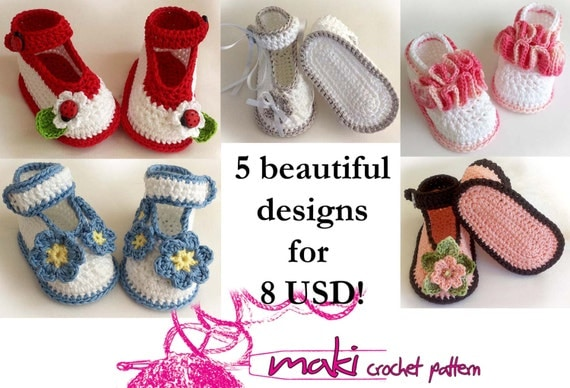 Crochet Patterns I Can Make And Sell : Crochet patterns baby booties e-Book Permission by MakiCrochet