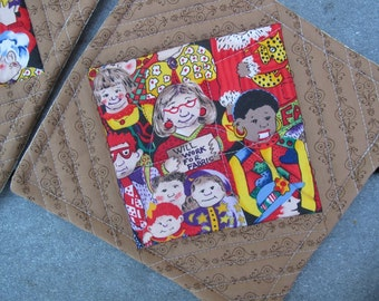"""Quilted Patchwork Potholders -- """"Will Work for Fabric"""" -- 2 sets available"""