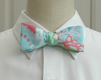 Men's Bow Tie, surf blue Check In Lilly print, aqua rose and lime bow tie, wedding bow tie, groom bow tie, groomsmen gift, prom bow tie