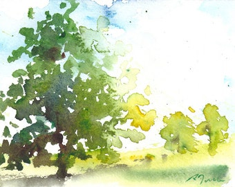 Small format No.6 - Summer tree 2 of 5 - limited edition of 50 fine art giclee prints from my original watercolor