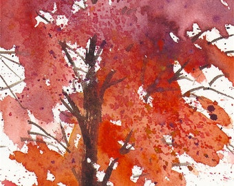 Small format No.10 - Autumn tree 1 of 4 - limited edition of 50 fine art giclee prints from my original watercolor