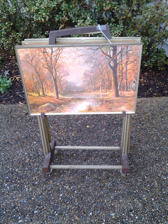 1960s Tv Trays 4 Folding Snack Tables Amp Stand Four Seasons