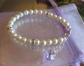 Flower Girl Youth Swarovski Lavender Heart Rhinestone and Pearl Bracelet - Flower Girl Bracelet - Childrens Bracelet/Junior Bridesmaid