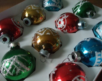 Vintage Holly Glass Ball Ornaments with Glitter Stencil Detail