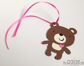 Brown Bear Favor Tags with Ribbon - 12 - pink heart bear collection