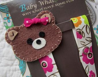 Girl Pacifier Clip, Flower Bear Pacifier Clip,  Teddy Bear Pacifier Holder, pcbear01