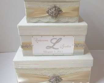 Wedding Card Box, Bling Card Box, Gift Card Box, Rhinestone Money Holder  - Custom Made