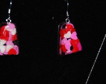 Necklace and earrings with candy sprinkles and conversation heart