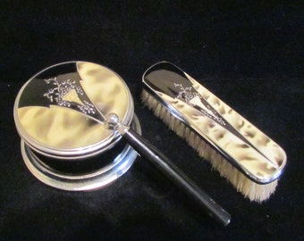 Art Deco Powder Box Brush Vanity Set Matching Dresser Accessories Clothes Brush Powder Jar