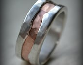 mens wedding band - fine silver and 14K rose gold ring - handmade artisan designed rustic wedding band - customized - Maggi Designs