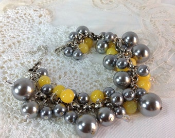 Grey And Yellow Cluster Bracelet Bridesmaid, Wedding