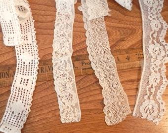 Vintage Lace Trim- Four Pieces Lacy Trim- Off White Lace Trim