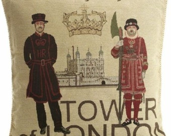 """18"""" Tower of London Tapestry Vintage look Pillow Cover Designer Cushion Cover Throw Scatter Pillow. Decorative Pillow"""