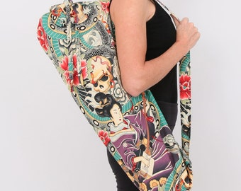 Yoga Mat Bag / Pilates Mat Carrier / Hot Yoga / Drawstring Top / Zipper Pocket/ Snake Tattoo Geisha