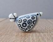 circles bird pin tie tac lapel pin pale blue glazes hat pin handmade porcelain miniature adornment cute birdie