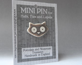 Striped cat tie tac porcelain jewelry for hats, lapels, ties and bags. Natural stain and unglazed gift for the crazy cat lady in your life