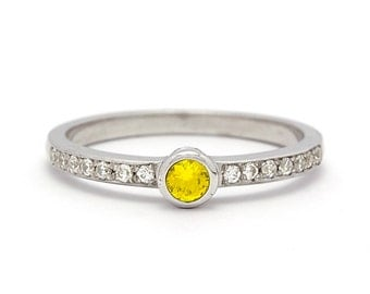 Low Profile Fancy Yellow Diamond Engagement Ring in White Gold