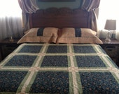 SALE! Queen Bedspread or King Quilt  with matching pillow shams - finished