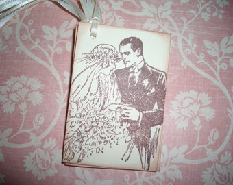 Wedding Gift Tags -  Vintage Bride and Groom Gift Tags  - Set of Six