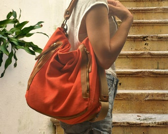 Canvas women shoulder bag in coralo red with leather details,named Vera MADE TO ORDER