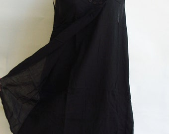 D12, Lotus Flower Black Cotton Dress