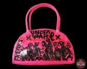 walking dead hot pink with black zombies handbag